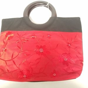 Red BLack 100% Silk Purse Embroidered and Beaded